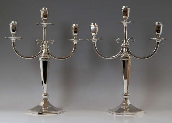 Silver Sterling Art Deco Pair of Candlesticks Three Arms Possibly, Spain - photo 1