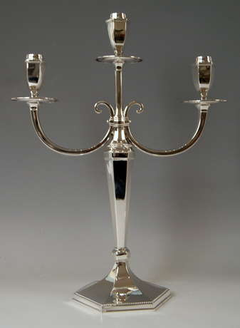 Silver Sterling Art Deco Pair of Candlesticks Three Arms Possibly, Spain - photo 2