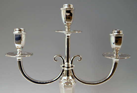 Silver Sterling Art Deco Pair of Candlesticks Three Arms Possibly, Spain - photo 3