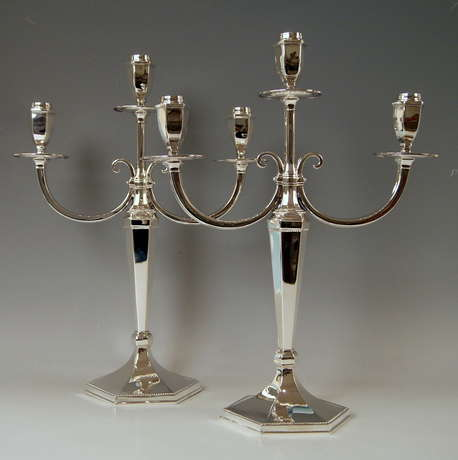 Silver Sterling Art Deco Pair of Candlesticks Three Arms Possibly, Spain - photo 0