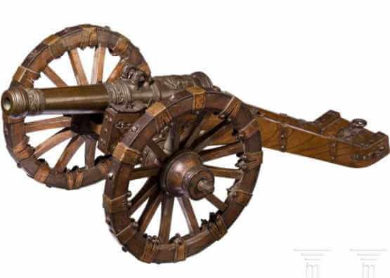 Waffenmodell mit Waffenwagen, Nürnberg | 1650 g