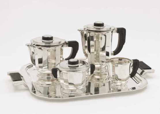 Five-piece silver coffee and tea set