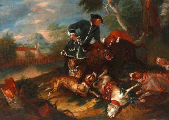 Johann Georg de Hamilton. Summer landscape with dramatic hunting scene