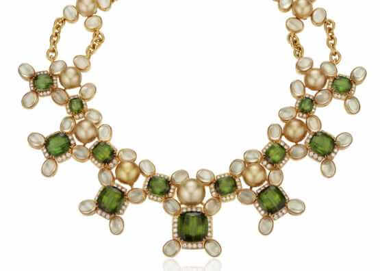 NECKLACE OF PEARL, DIAMOND AND MULTI-PRECIOUS STONES
