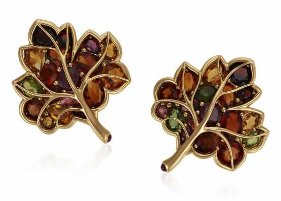 VERDURA ZIRCON AND GOLD LEAF EARRINGS