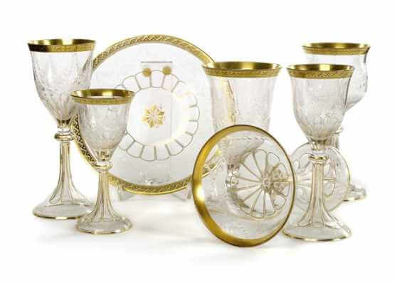 Drinking service. Theresienthal | Flower engraving and gilding