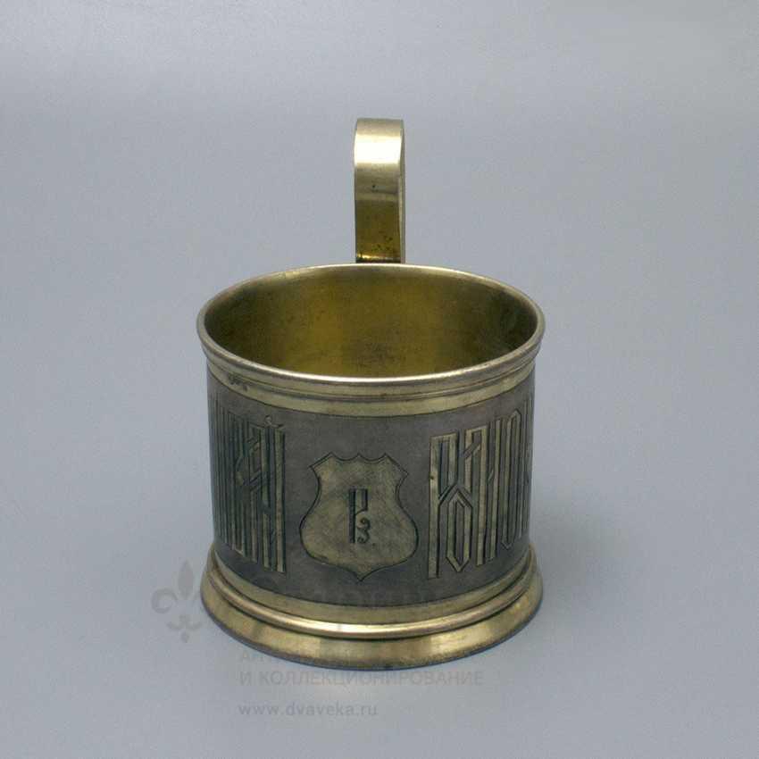 "Antique silver holder in the Russian style ""Tea Popigai, but Romak serve"", 84 sample, 1882 - photo 2"