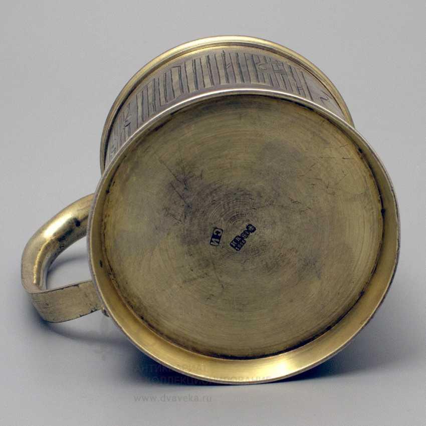 "Antique silver holder in the Russian style ""Tea Popigai, but Romak serve"", 84 sample, 1882 - photo 4"