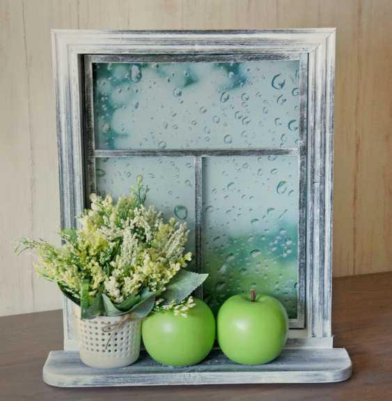 VALENTINA LEPKOVICH. Innere Wandbild, Imitation rustikalen Fenster Äpfel und Regen - Foto 1