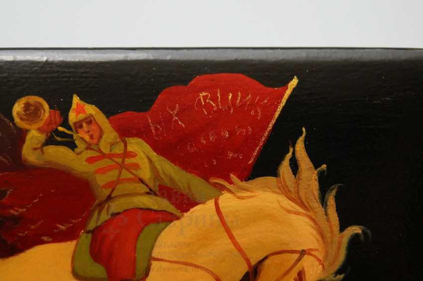 """Soviet propaganda lacquer box """"Attack"""", papier-mache, lacquer, 1960-ies - photo 4"""