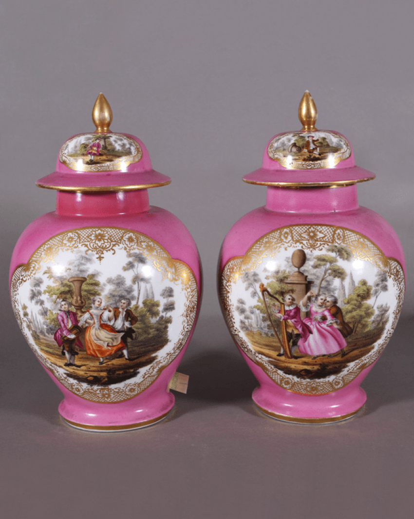 A pair of Dresden vases, 1860s-1880s years, China - photo 1