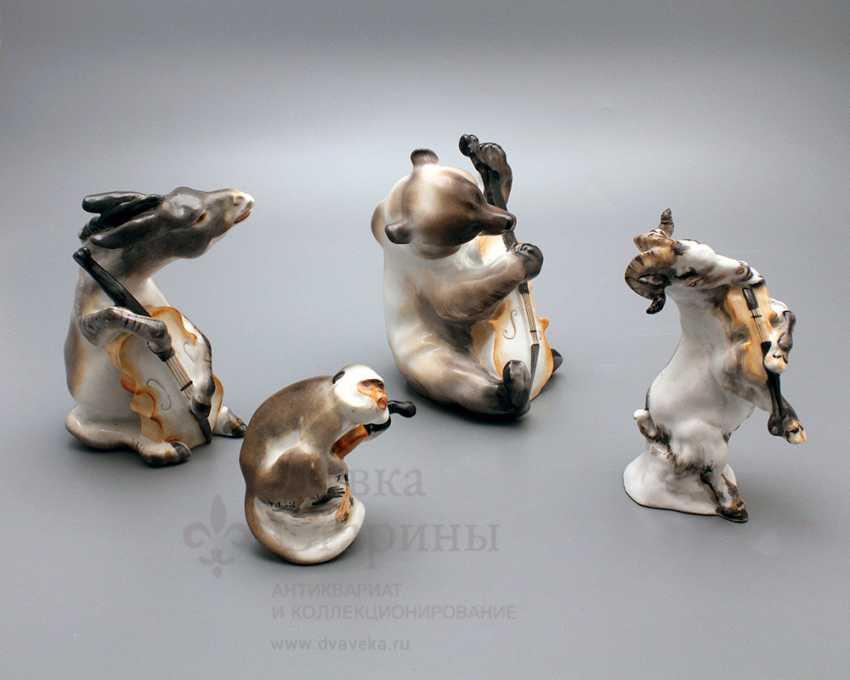 "Composition of porcelain statuettes of the ""Quartet"" of the fable by I. A. Krylov, Lomonosov porcelain factory, the sculptor Boris Vorobyov I - photo 2"