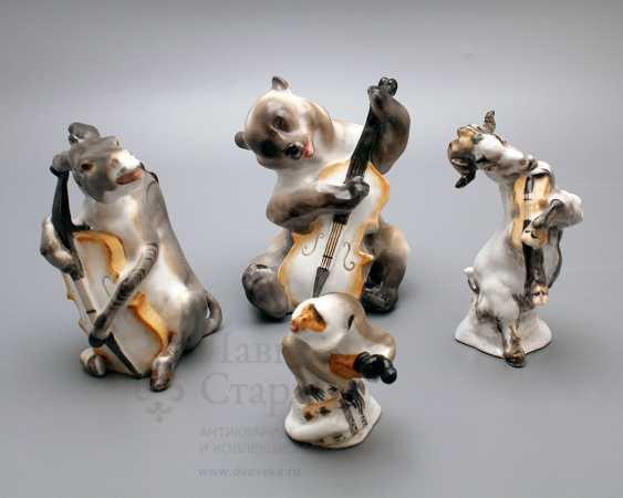 "Composition of porcelain statuettes of the ""Quartet"" of the fable by I. A. Krylov, Lomonosov porcelain factory, the sculptor Boris Vorobyov I - photo 1"