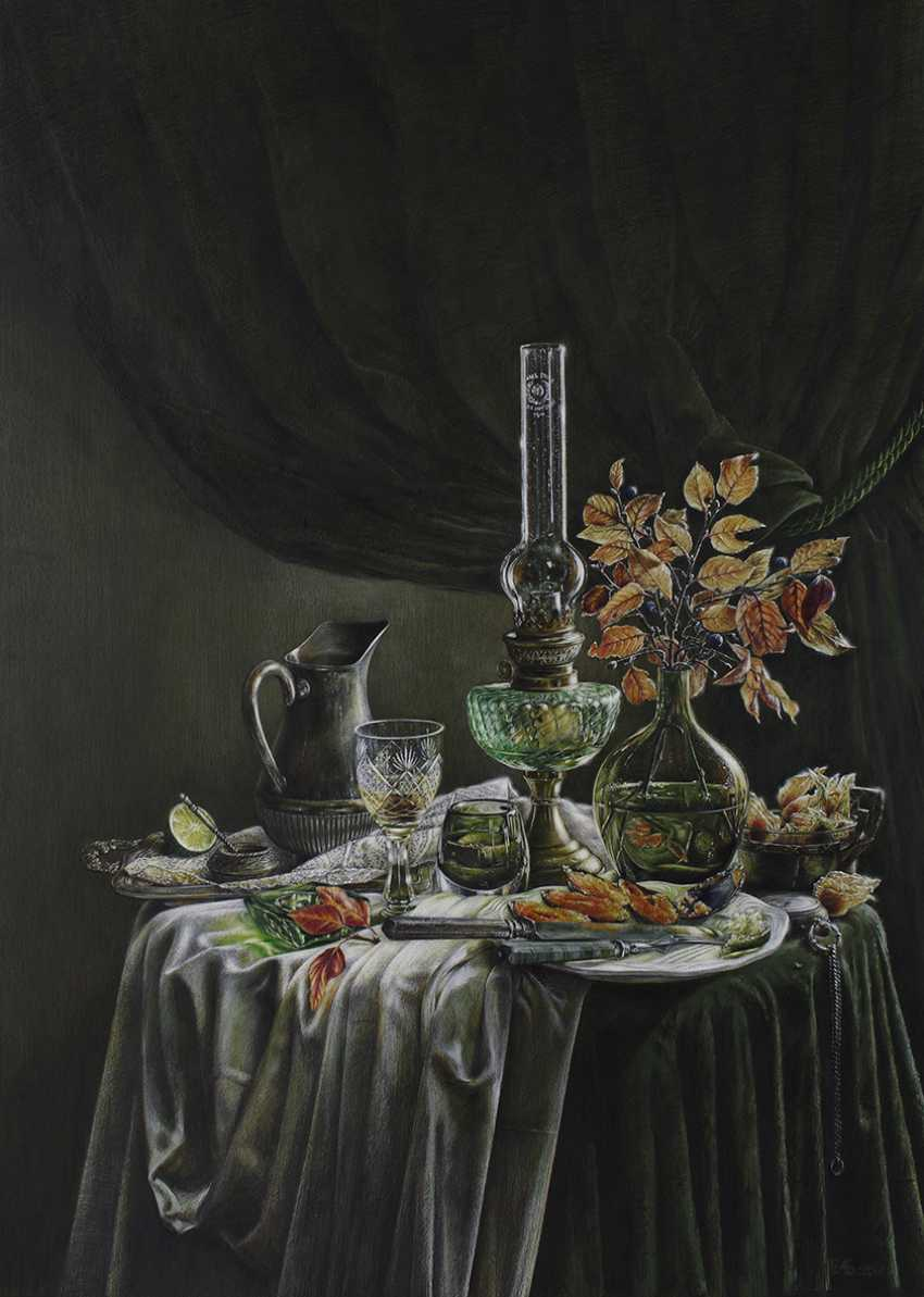 Evgeny Borovik. Still life with mussels, physalis and lime. - photo 1