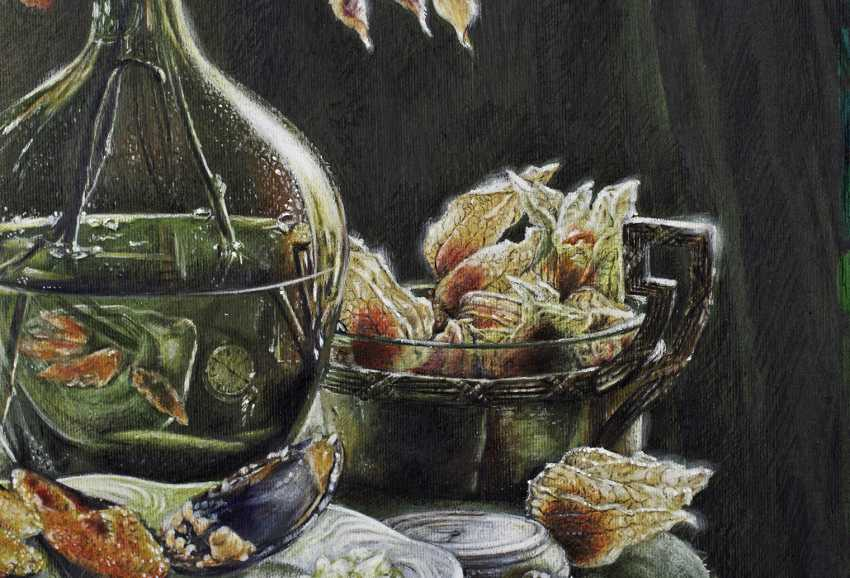 Evgeny Borovik. Still life with mussels, physalis and lime. - photo 3