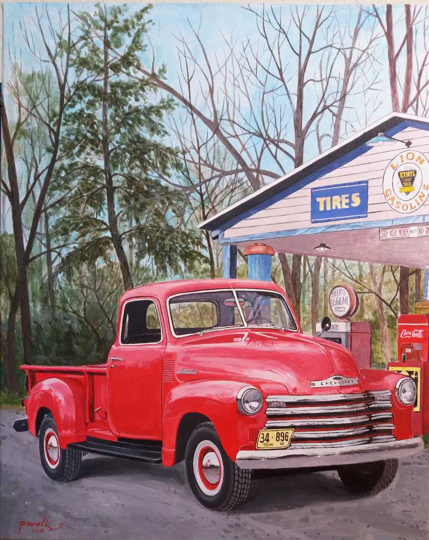 Katerina Pavelko. Original painting acrylic with Chevrolet 1300 pickup truck - photo 1