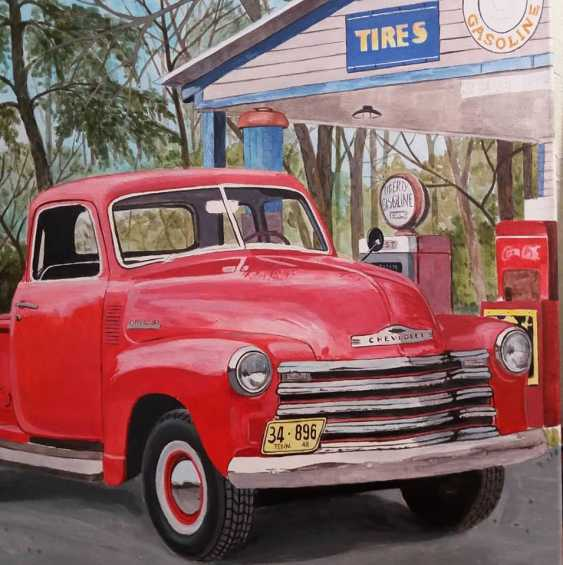 Katerina Pavelko. Original painting acrylic with Chevrolet 1300 pickup truck - photo 2