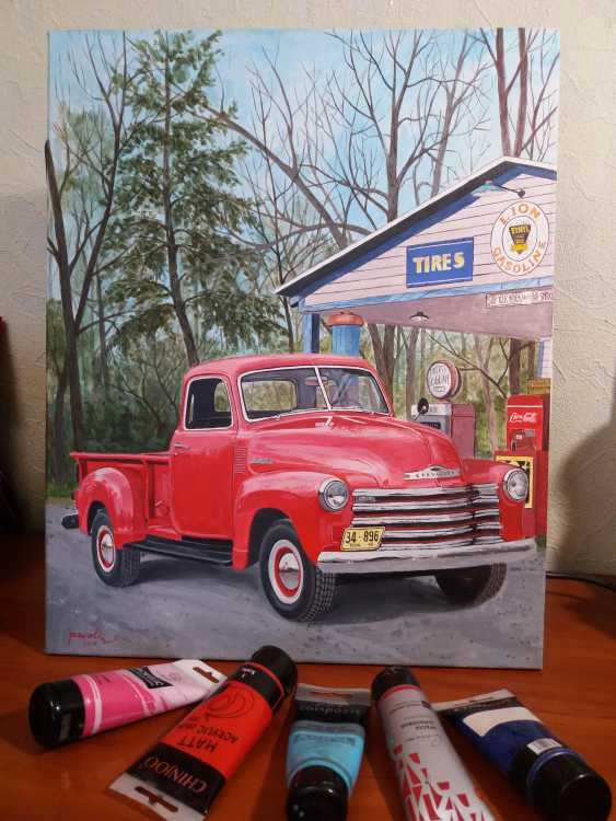 Katerina Pavelko. Original painting acrylic with Chevrolet 1300 pickup truck - photo 3