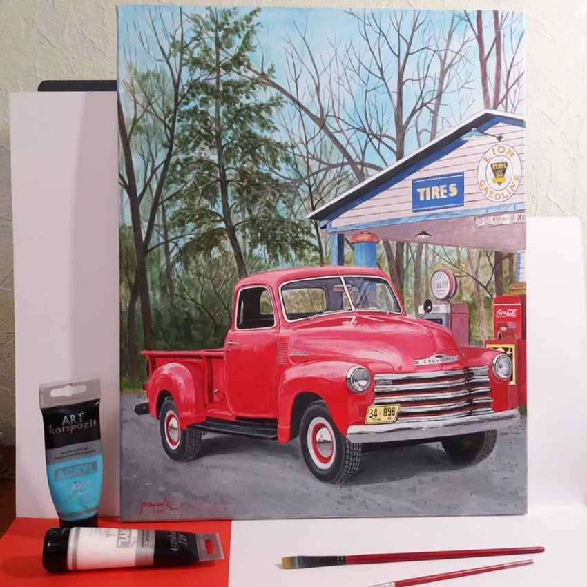 Katerina Pavelko. Original painting acrylic with Chevrolet 1300 pickup truck - photo 4