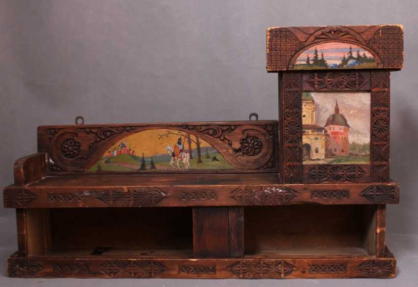 Antique wooden shelf Cabinet with carved and painted, Abramtsevo, C. 19th century - photo 1