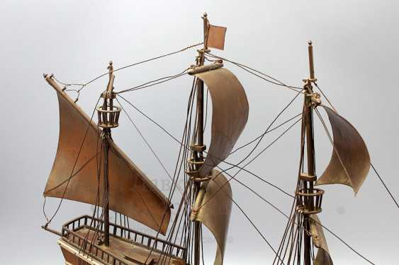 Vintage model sailing ship, brass, wood - photo 4