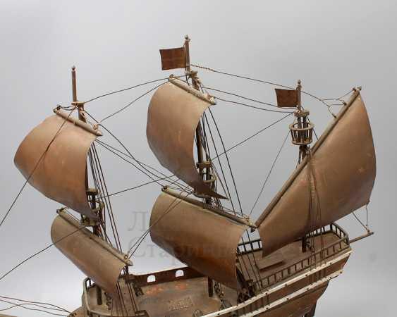 Vintage model sailing ship, brass, wood - photo 5