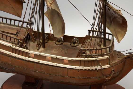 Vintage model sailing ship, brass, wood - photo 7