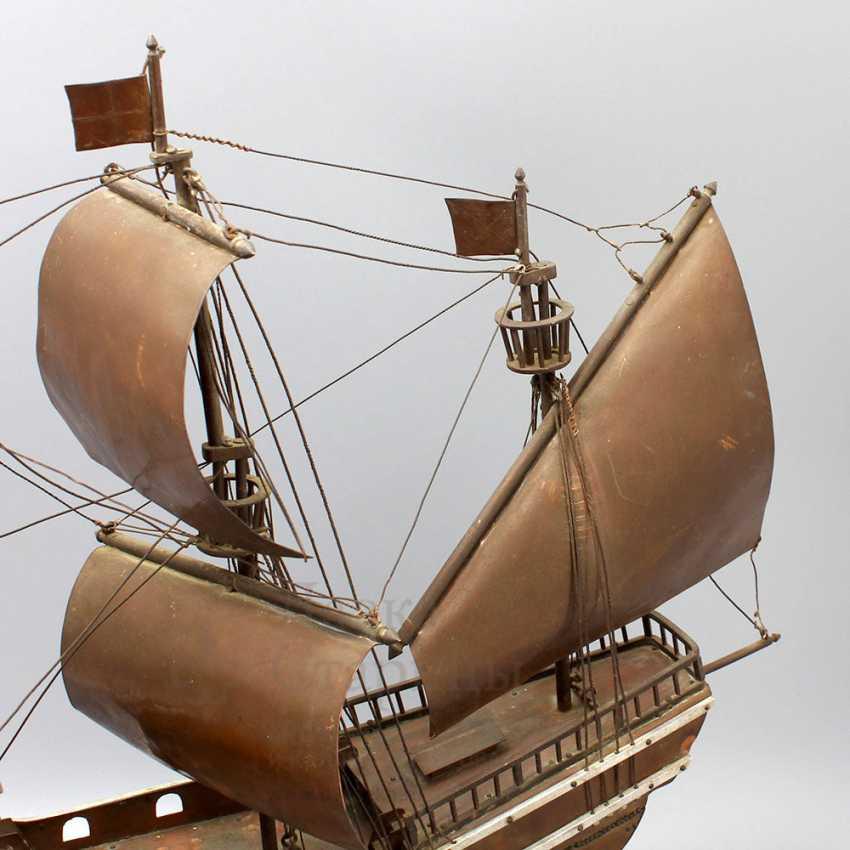 Vintage model sailing ship, brass, wood - photo 8