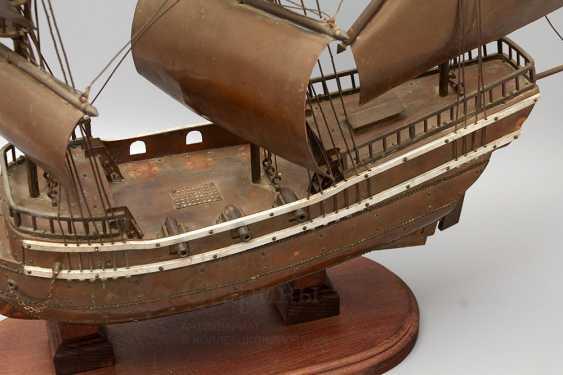Vintage model sailing ship, brass, wood - photo 6