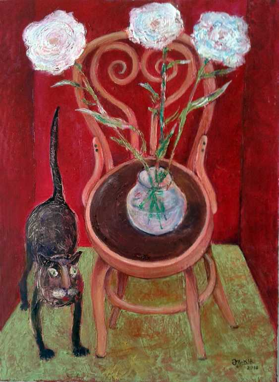 ZAKIR AHMEDOV. .Cat And Flowers2016 year Oil Paintings on Canvas70x50cm2500$ - photo 1