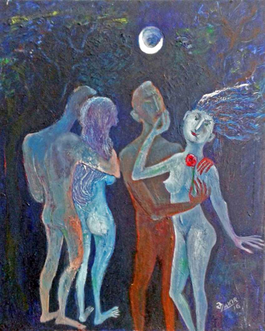 ZAKIR AHMEDOV. .Moonlight Nacht 2016year60x50cm Original-Gemälde Öl auf Leinwand 4000$ - Foto 1