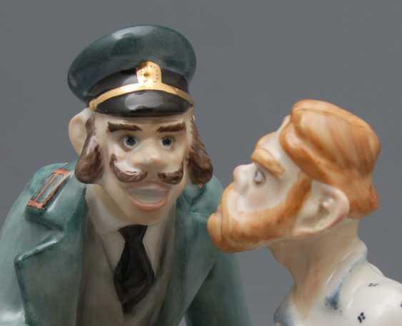 """The sculpture """"Attacker"""", the sculptor A. Asanbaev, artist O. Koricheva, porcelain Dulyovo, 2000 - photo 2"""