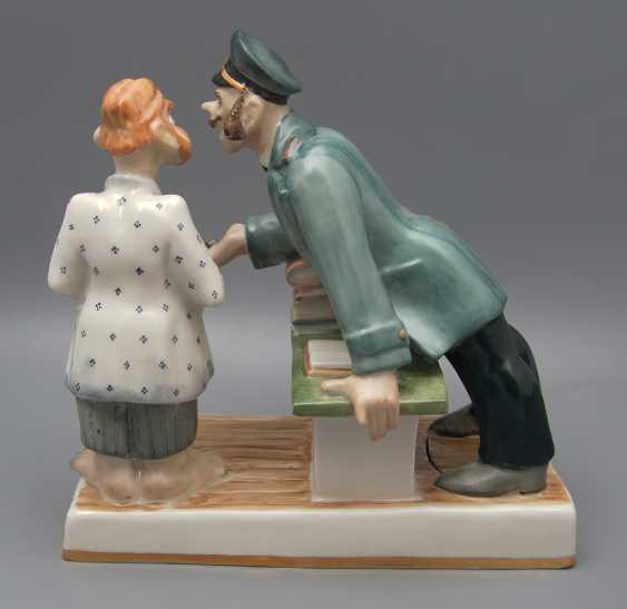 """The sculpture """"Attacker"""", the sculptor A. Asanbaev, artist O. Koricheva, porcelain Dulyovo, 2000 - photo 3"""