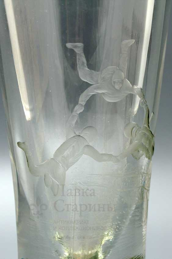 "Soviet glass flower vase ""Parachutists"" - photo 6"