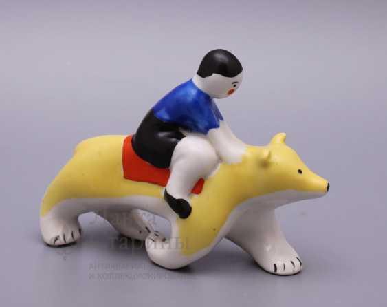 "Porcelain figurine ""Boy bear"" from the ""Carousel"", Verbilki USSR - photo 2"