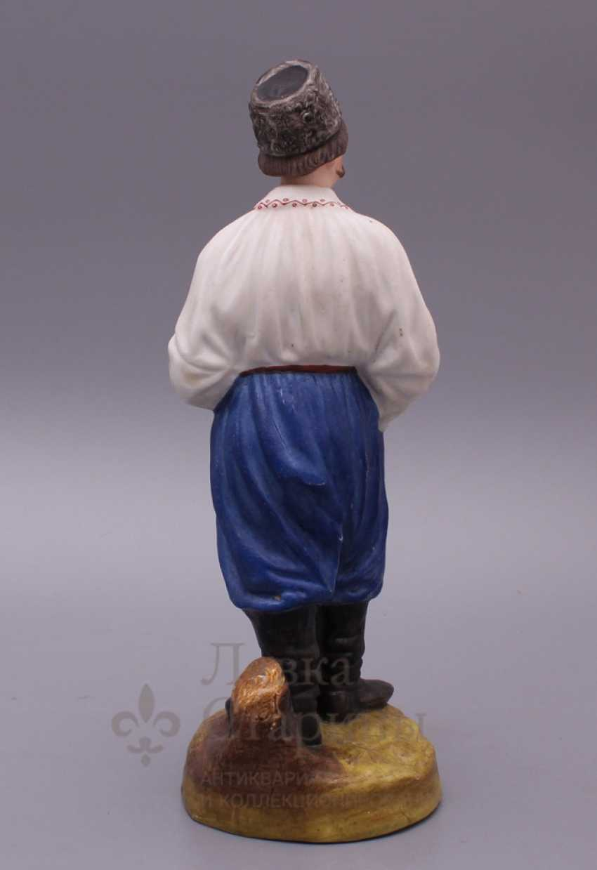 """Figurine """"Cossack with a pipe"""", Verbilki, 1920, biscuit - photo 5"""