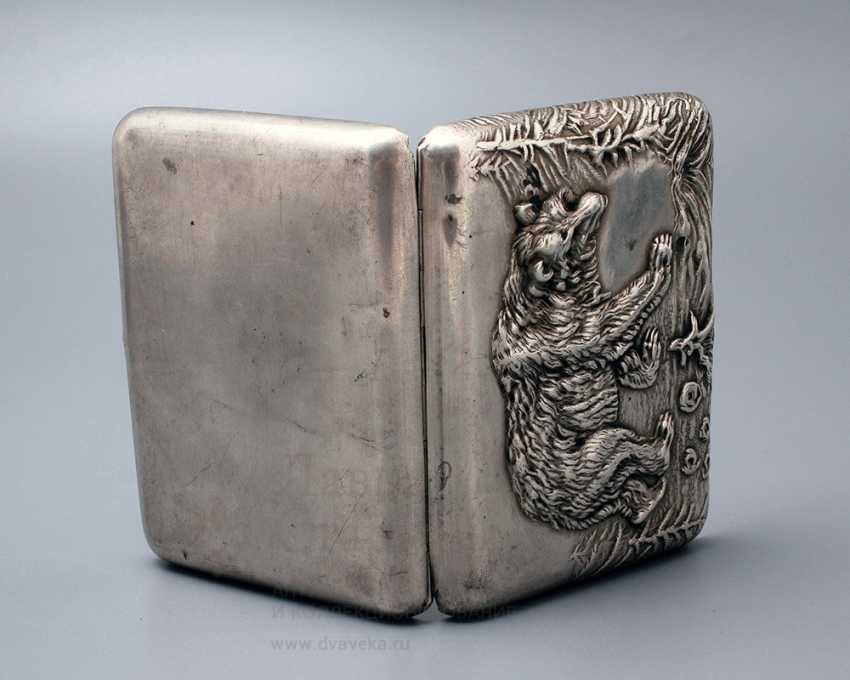 "Soviet cigarette case ""Bear"", silver 875 sample - photo 2"