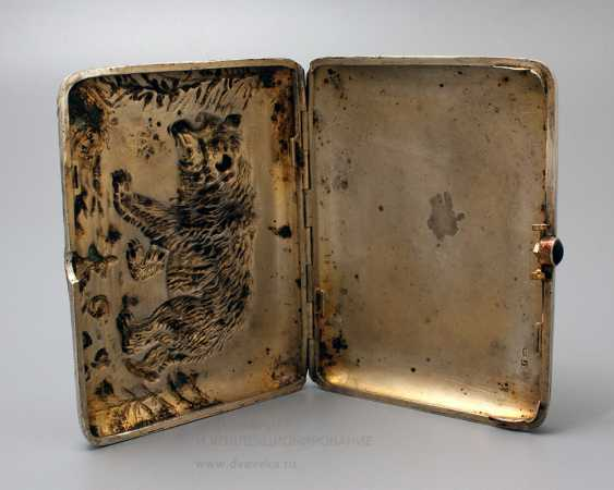 "Soviet cigarette case ""Bear"", silver 875 sample - photo 3"