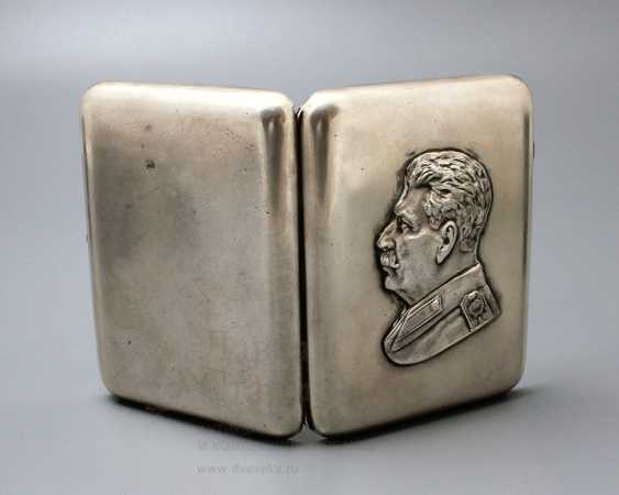 "Soviet silver cigarette case, ""Stalin I. V."", 875 samples - photo 1"