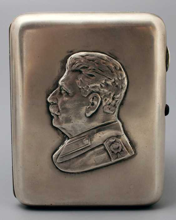 "Soviet silver cigarette case, ""Stalin I. V."", 875 samples - photo 5"