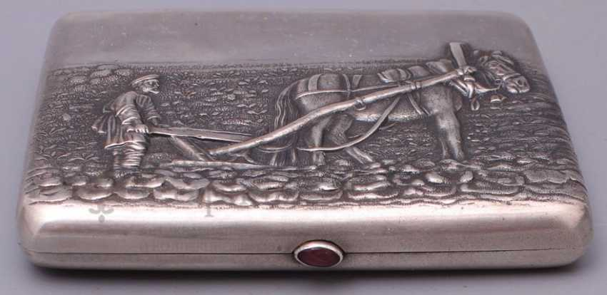"Vintage Cigarette case silver 84 sample ""the Farmer and the horse"" - photo 2"