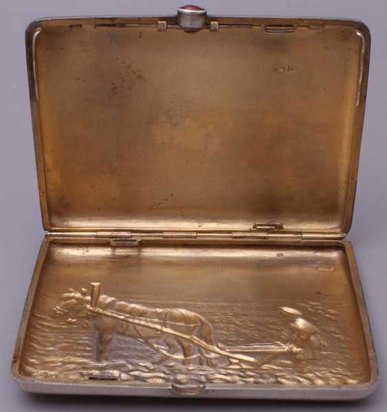 "Vintage Cigarette case silver 84 sample ""the Farmer and the horse"" - photo 5"