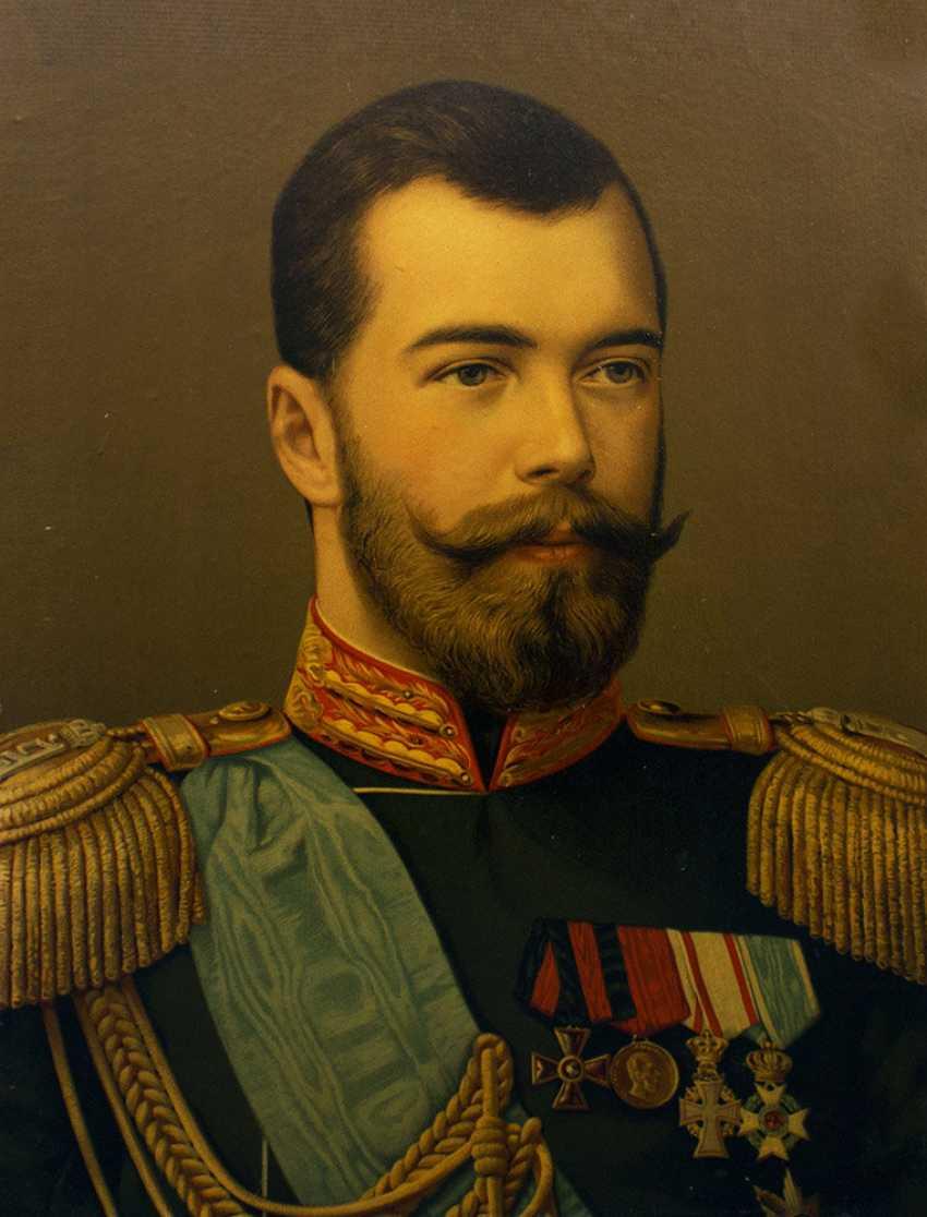 """Antique chromolithograph """"the Emperor Nikolai Alexandrovich Romanov"""" - photo 2"""