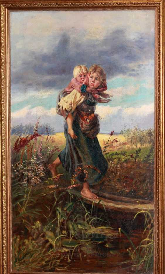"Copy of painting by K. Makovsky ""Children running from the storm"" - photo 2"