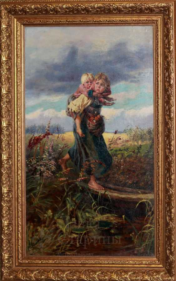 "Copy of painting by K. Makovsky ""Children running from the storm"" - photo 1"