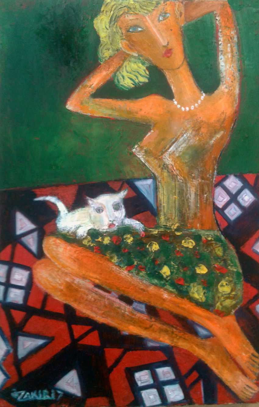 ZAKIR AHMEDOV. Girl and cat 2017year 45x30cmOriginal Painting Oil on Canvas - photo 1