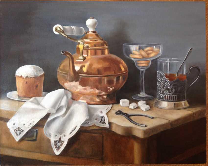 "Olga Migacheva. The painting ""Tea with rum cake and crackers"" - photo 1"