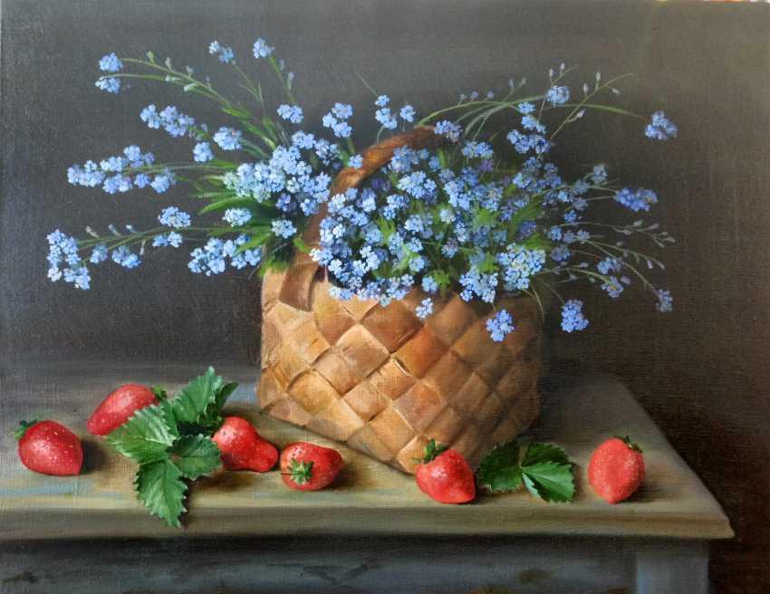 "Olga Migacheva. Still life ""Basket with forget-me-nots"" - photo 1"