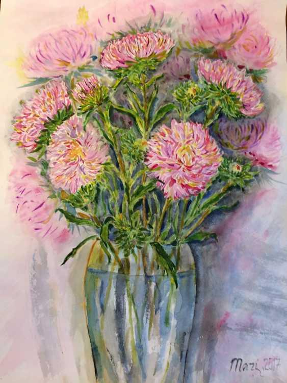 Maryna Pashchenko. Chrysanthemums in a vase. - photo 1