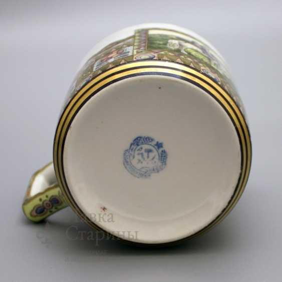 """Mug in the Russian style """"knight at the crossroads"""", the ZFA porcelain Verbilki, 1930s years - photo 5"""
